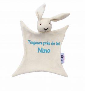 Doudou bio lapin personnalisé Nino Alexia Naumovic